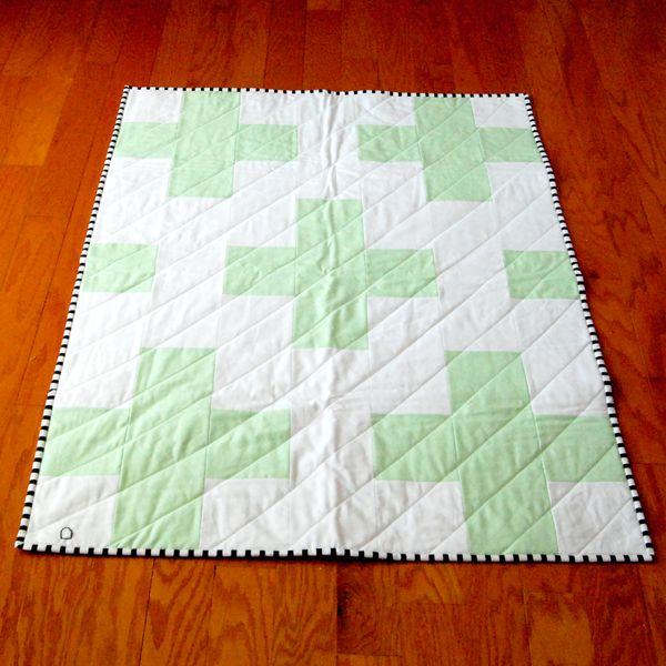 Modern Plus Sign Toddler Quilt w/ Floral Backing by Roar Haus