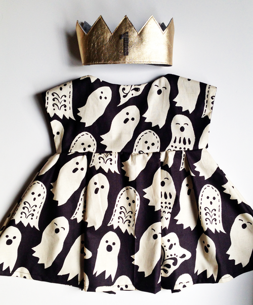 Shwin Designs Lizzy Dress in Maude Ashbury's Spooktacular too Boo Black fabric & Gold Leather Crown by Amber Rohrer /></a></p> <p>Noi's Cousin, Gwyn turned one on October 30th, so I knew she needed the perfect Halloween party dress to celebrate the big ONE!</p> <p><a class=