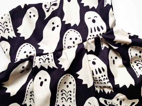 Shwin Designs Lizzy Dress in Maude Ashbury's Spooktacular too Boo Black fabric